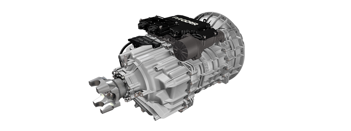 Two-third view of Paccar transmission