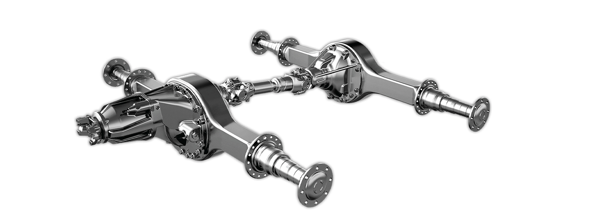 Two-third view of Paccar axle
